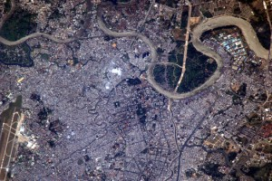 Ho-chi Minh Stad in Vietnam uit ISS