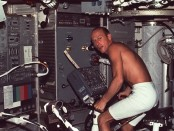 Skylab_2_Conrad_using_bicycle_ergometer